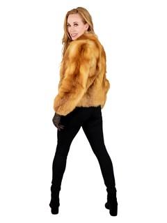 Woman's Petite Natural Red Fox Fur Jacket