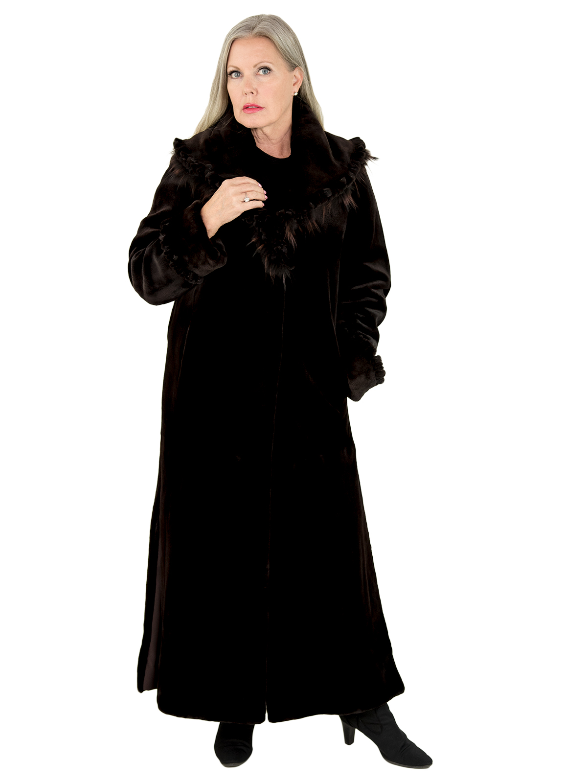 Woman's Deep Brown Sheared Mink Fur Coat with Fringe Details