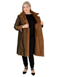 Woman's Whiskey Sheared and Grooved Mink Fur 7/8 Coat Reversible to Rain Fabric