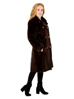 Woman's Brown Sheared and Laser Grooved Mink Fur Stroller