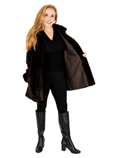 Woman's Brown Sheared Mink Fur Jacket Reversible to Rain Fabric