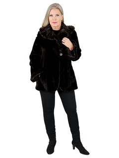Woman's Black and Pewter Sheared Mink Fur Jacket Reversible to Rain Fabric