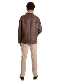 Man's Christ Brown Shearling Lamb Jacket