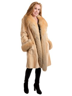 Woman's Butterscotch Sheared Mink Fur Stroller with Golden Isle Fox Trim