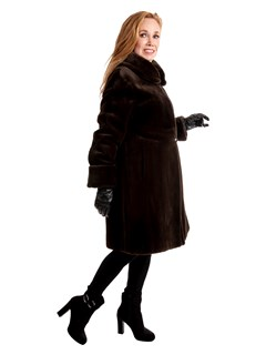 Woman's Dark Brown Sheared Mink Fur 3/4 Coat Reversible to Rain Fabric