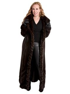 Woman's Mahogany Female Mink Fur Directional Coat