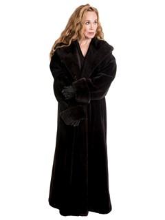 Woman's Plus Size Matara Sheared Beaver Fur Coat with Hood