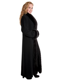 Woman's Black Wool Coat with Fox Fur Tuxedo Front and Cuffs