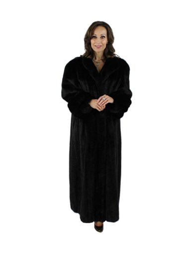 Female Ranch Mink Fur Coat w/ Detachable Fox Trimmed Hood