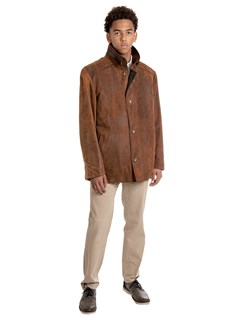 Man's Russet Distressed Leather Lambskin Jacket with Red Fox Lining