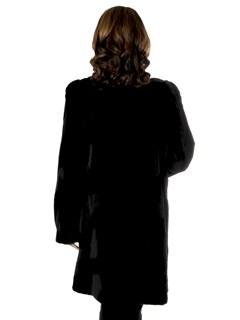 Woman's Black Sheared Mink Fur Stroller with Diagonal Design