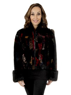 Woman's Multicolored Sheared Beaver Fur Jacket With Traditional Beaver Cuffs and Collar