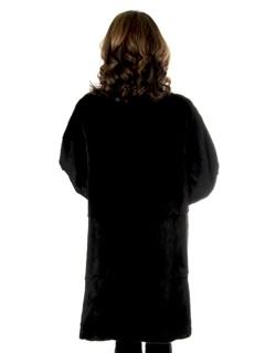 Woman's Black Sheared Mink Fur Stroller Reversible to Rain Taffeta