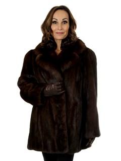 Woman's Mahogany Mink Fur Jacket with Large Sable Collar