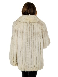 Woman's Natural Blue Fox Cord Cut Fur Jacket