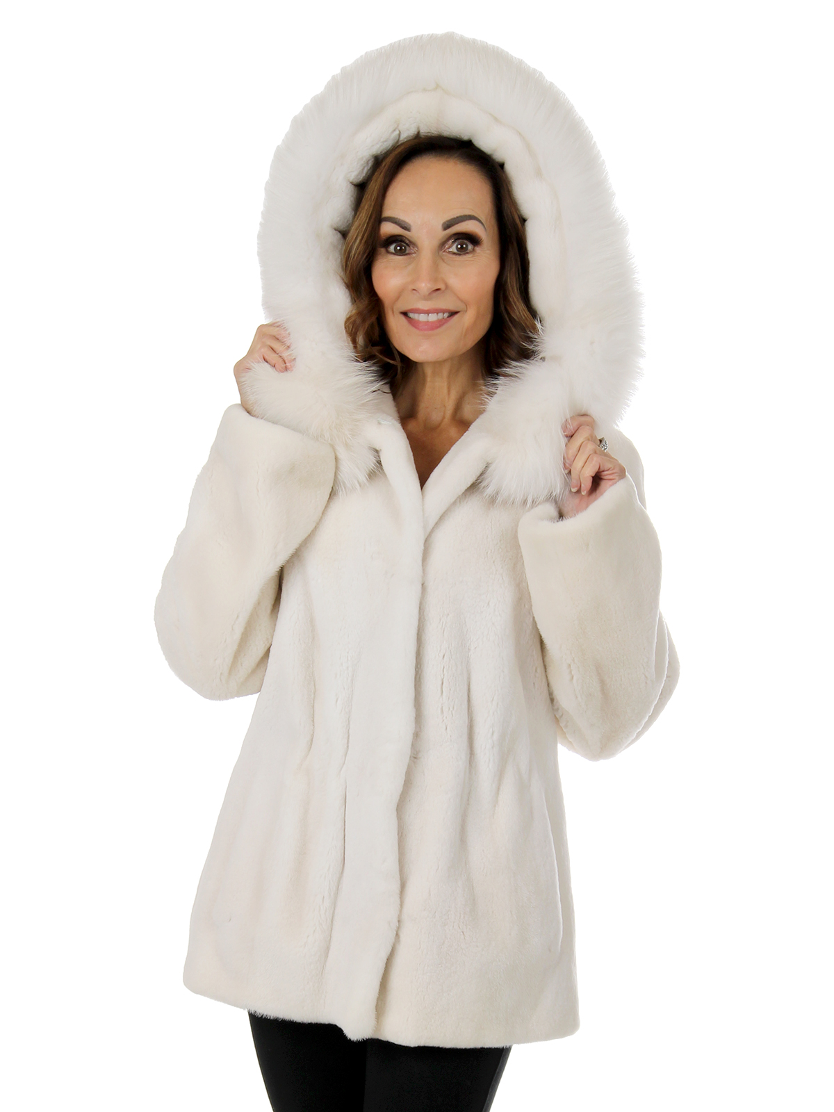 Woman's White Sheared Mink Fur Parka with Fox Trimmed Hood