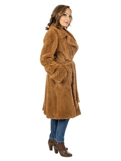 Woman's Caramel Sheared and Laser Grooved Mink Fur 3/4 Coat