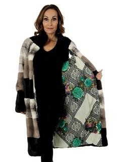 Woman's Tri-Color Mink Fur 7/8 Coat