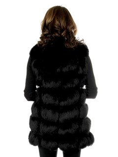 Woman's Black Fox Fur and Suede Vest