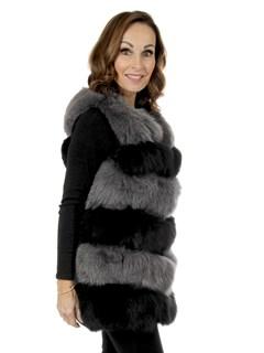 Woman's Black and Grey Fox Fur Vest