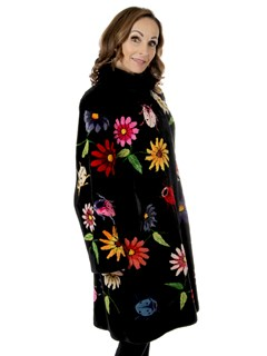 Woman's Zuki Sheared Beaver Fur 3/4 Coat With Multi-colored Flower Inserts
