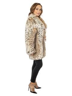 Women's Natural Cat Lynx Fur Stroller