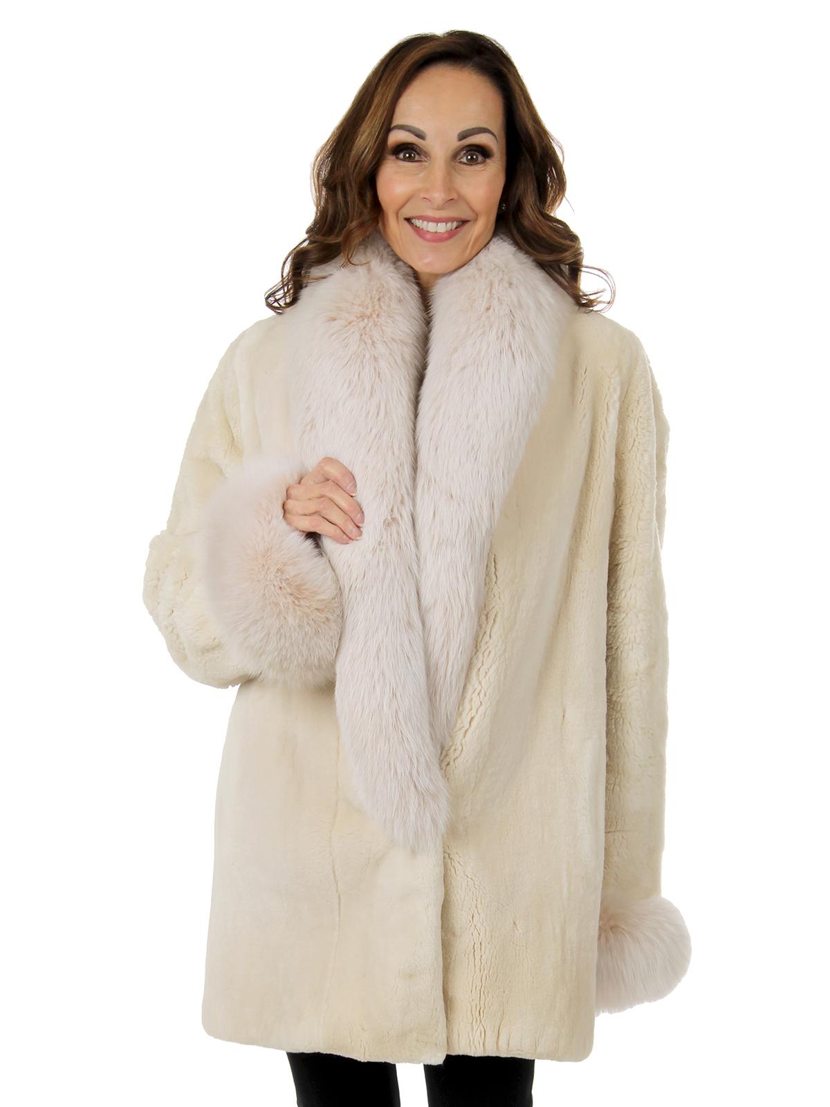 Louis Feraud Woman's Cream Sheared Beaver Fur Jacket With Fox Collar And Cuffs