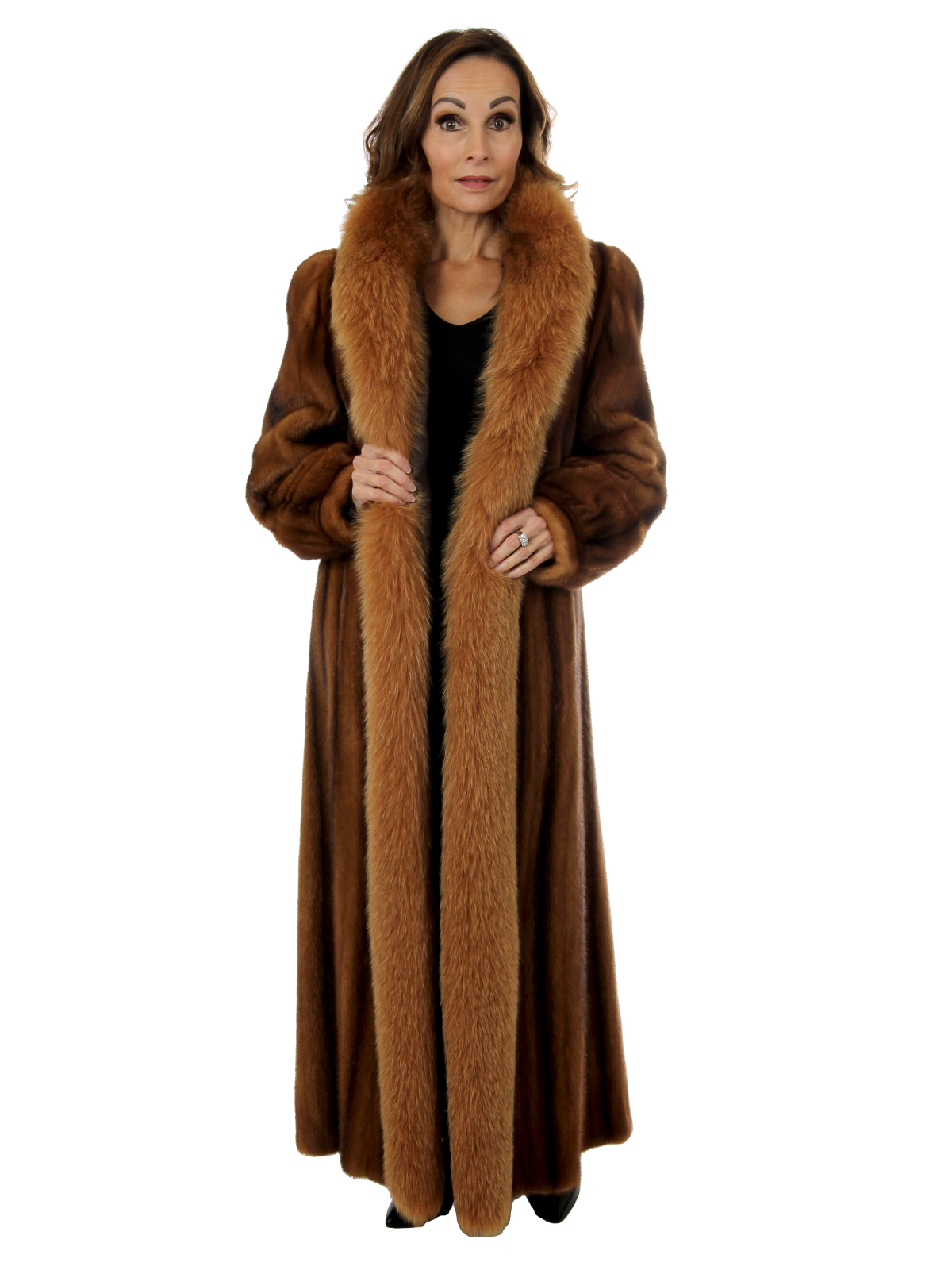 Woman's Whiskey Female Mink Fur Coat With Fox Tuxedo Front