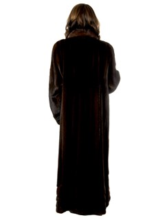 Woman's Mary McFadden Mahogany Mink Fur Coat with Directional Work at Hem
