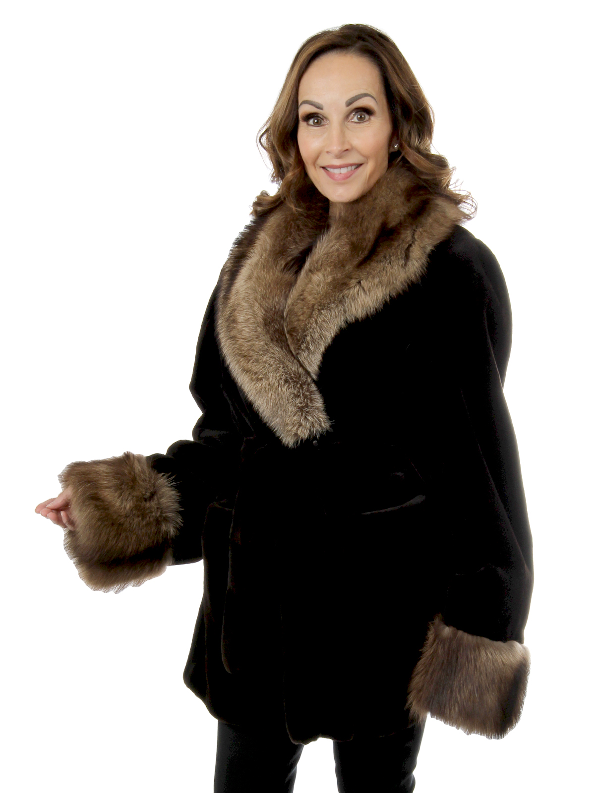 Woman's Deep Brown Sheared Mink Fur Stroller with Stone Marten Collar and Cuffs