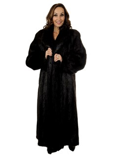 Woman's Ebony Long Hair Beaver Fur Coat