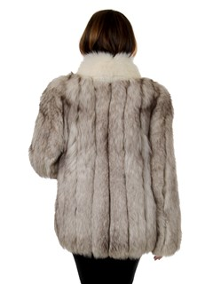 Woman's Natural Blue Fox Fur Jacket with Shadow Fox Trim