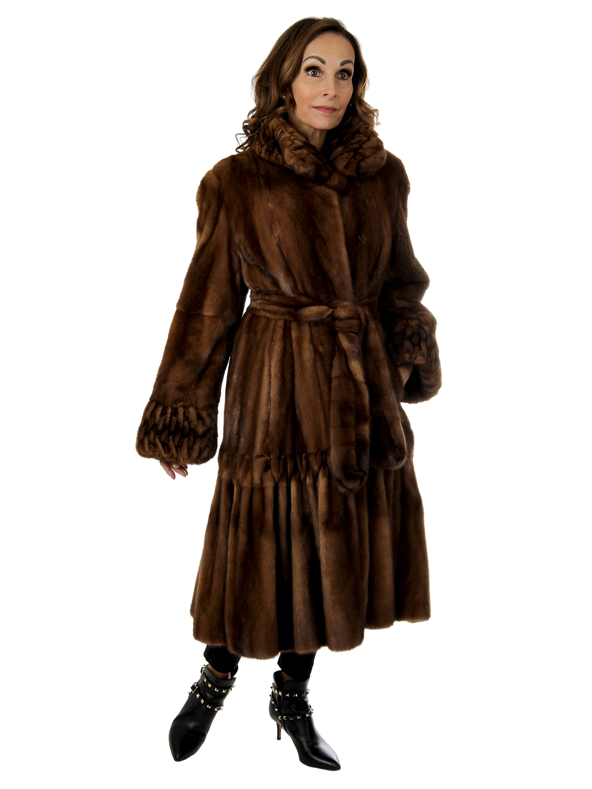 Woman's Whiskey Female Mink Fur 7/8 Coat With Ruching Design and Detachable Belt