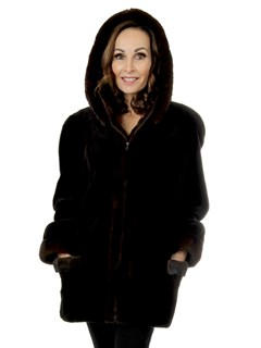 Woman's Brown Sheared Mink Fur Jacket with Detachable Hood