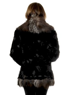 Woman's Semi-Sheared Ranch Mink Fur Jacket With Silver Fox Trim