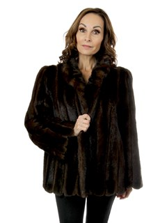 Woman's Mahogany Mink Fur Jacket With Suede Inserts