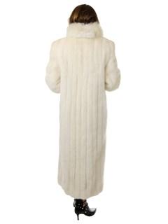 Woman's Blush Brown Cross Mink Fur Coat with Matching Fox Tuxedo Front