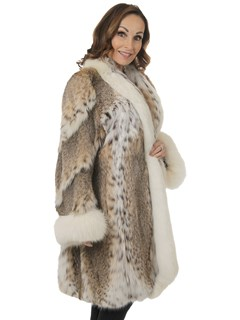 Woman's Natural Cat Lynx 3/4 Fur Coat with Shadow Fox Trim