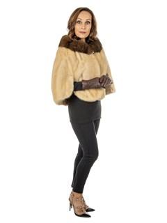 Women's Blush Mink Fur Stole with Sable Portrait Collar