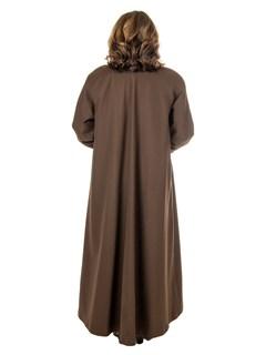 Woman's Brown Sheared Nutria Fur Lined Microfiber Raincoat