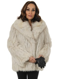 Woman's Cord Cut Natural Blue Fox Fur Jacket