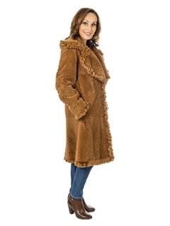 Woman's Whiskey Laser Grooved Rex Rabbit Fur Stroller