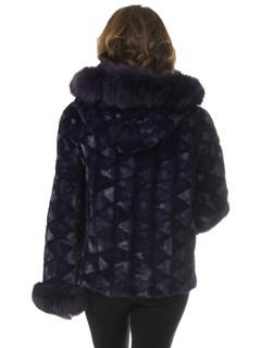 Woman's Semi Sheared Purple Mink Fur Parka