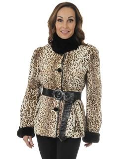 Woman's Animal Print Stenciled Lambskin Fur Jacket