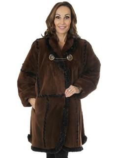Zuki Woman's Brown Sheared Beaver Fur Stroller
