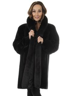 Black Sheared Beaver Fur Stroller With Fox Tuxedo Front