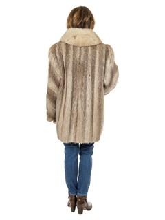 Woman's Natural Nutria Fur Stroller With Blush Fox Shawl Collar
