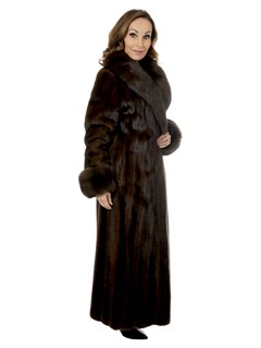 Woman's Female Mahogany Mink Fur Coat With Sable Collar And Cuffs