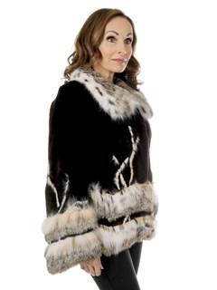 Woman's Jean Crisan Brown Sheared Beaver Fur Jacket with Cat Lynx Trim