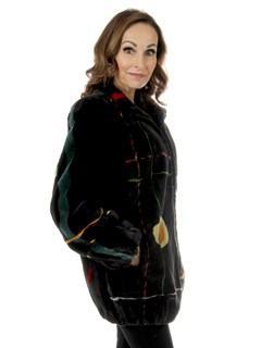 Woman's Black Zuki Sheared Beaver Fur Jacket